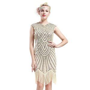 BABEYOND Women's Flapper Dresses 1920s Beaded Fringed Great Gatsby Dress (Beige, M)