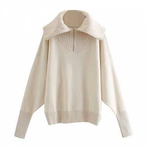 Jinda Large Lapel Pullover Sweater Autumn and Winter Zipper Decoration Outer Wear Sweater Women's Jacket M White