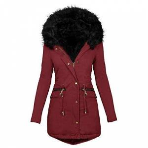 Puimentiua Women's Windproof Warm Coat Parka Jacket Fashion Solid Color Faux Fur Lined Collar Hooded Warm Jacket(Wine RedXX-Large)