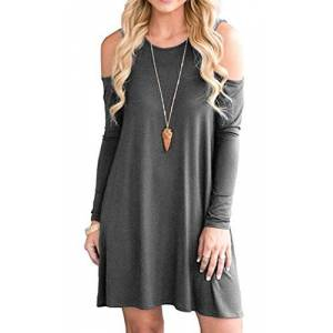 PCEAIIH Women's Summer Cold Shoulder Tunic Top Swing Dresses Loose T-shirt Casual Dress With Pockets (Large, 3-Long Sleeve-Dark Gray)