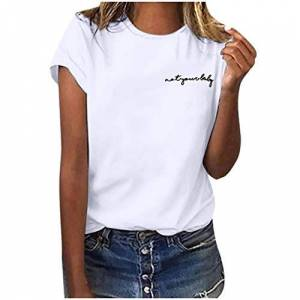 Women's Summer Letter Print T-Shirt Short Sleeve Classic Tops Casual O-Neck Shirts Blouse- Not Your Lady Printed White