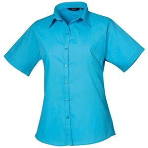 Women's poplin Short Sleeve blouse, Ladies Plain Work Shirt-Turquoise-Size 18