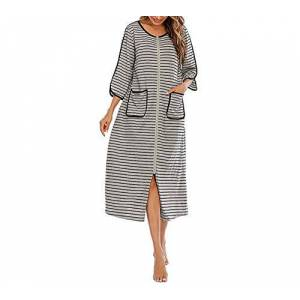 huateng Women's 3/4 Sleeve Striped Round Neck Zipper Nightdress Cool and Breathable Home Wear with Pocket S-XXL Gray