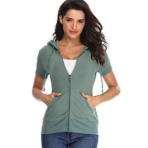 MISS MOLY Hoodie Womens Zip Up Jacket Summer T Shirt Lightweight Sweatshirt Green Medium