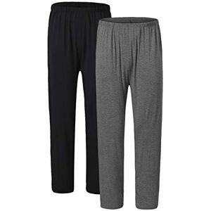 JINSHI Women Lady Pyjamas Bottoms Trousers 2-Pack Lounge Pants Nightwear Soft Casual Jog Gym Yoga PJ Bottoms(Black/Dark Grey) Size L