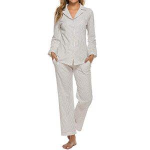MINTLIMIT Ladies Sleepwear Polka Dots Nightwear Sleepwear Lapel Neck V Neck Tops Trousers Sets(Size M,White)