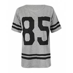 Fashion Hub Ladies American Varsity 85 Print Top Womens Baseball Baggy Style Striped T-Shirt Grey 3X Large (24-26)