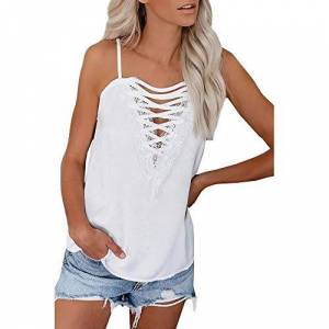 CUTUDE Womens Vest V Neck Lace Sleeveless Lace Wide Strap Camisole Spaghetti Tank Sling Ladies Fashion Blouse Shirts Loose Tops (White, XL)