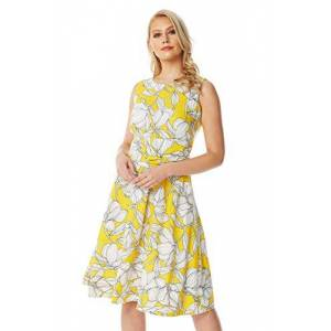 Roman Originals Womens Floral Tie Waist Dress - Ladies Summer Round Neck Sleeveless Smart Casual Office Work Holiday Evening Prom Formal Special Occasion Ball Gown Dresses - Yellow - Size 10