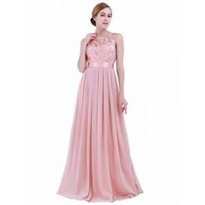 iEFiEL Women's Elegant Sleeveless Embroidered Chiffon Bridesmaid Long Dress Evening Gowns Pearl Pink UK Size 10 /#6