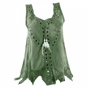 Womens Tops, SHOBDW Plus Size Tank Top U Neck Embroidery Hollow Out Sleeveless Summer Vest Loose T Shirt Personality Blouse S-5XL(Green,5XL (UK 22))