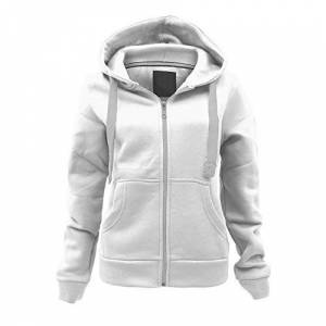 Parsa Fashions Ladies Plain Zip Up Hoodie Womens Fleece Hooded Top Long Sleeves Front Pockets Soft Stretchable Comfortable (Cream/3XL UK-18)