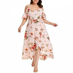 Kanpola Women Online Casual Short Sleeve Cold Shoulder Boho Flower Print Long Maxi Dress (UK 18, Pink)