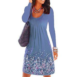 OMZIN Summer Dresses Women Round Neck Long Sleeve Casual Shirt Dresses Loose Leisure Dresses Tunic Dress Blue Xs
