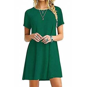YOUCHAN Tshirt Dress Women Summer Swing Dresses Tee Shirt Short Sleeve Casual Basic Tops T-Shirt A line Loose Fit-Army Green-XS