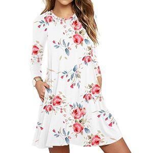 PCEAIIH Womens Summer Sleeveless Pockets Swing T-Shirt Casual Dresses (X-Small, Long Sleeve Print White)