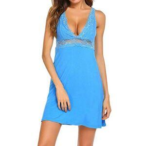 Feiteng Women Sexy Underwear Sleepwear Nightgown Lace Casual Patchwork V Neck Summer Nightdress 1PCS Sky Blue Sleepshirts Dress,Blue,XL