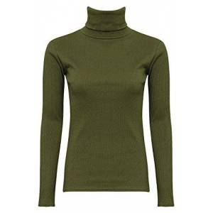 Shelikes NEW WOMENS LADIES GIRLS PLAIN LONG SLEEVES POLO TURTLE NECK STRETCHY SLIM T-SHIRT TOP-Khaki-UK 18 (100% Cotton)