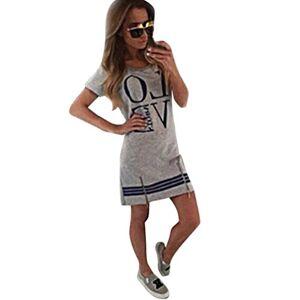 Newest Women's Casual Round Neck Letter Short Sleeve A Line Midi Dress T-Shirt Short Summer Dress (Gray, M)