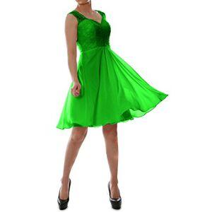 MACloth Women V Neck Lace Chiffon Short Formal Evening Cocktail Party Dress (UK18, Green)