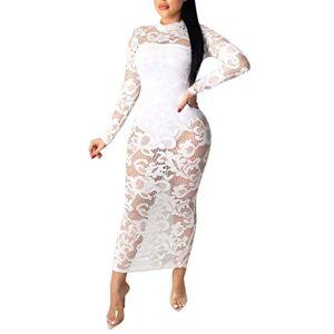 Women Summer Sexy Lace Dress Hollow Print V -Neck Irregular Split Long Sleeve Dress White
