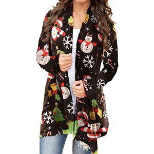 IGJMOD Women's Fashion Casual Long Sleeve Color Block Cardigan Sweater Lightweight Long Kimono Cardigans,5 Black,X-Large