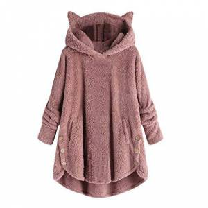 LOPILY Ladies Teddy Fresh Hoodie Solid Color Big Hoodie Coat Cat Eared Hooded Sweatshirt Winter Casual Teddy Bear Hoodie Blanket HoodiePink8 UK/M CN