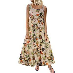 Sanahy Women Dress Sale, Summer Casual Plus Size Boho O-Neck Dress Floral Print Vintage Sleeveless Long Maxi Dress(Beige,18)