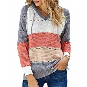 Womens Striped Color Block Knitted Hoodies Casual V-Neck Long Sleeve Hollow Out Jumper Pullover Sweatshirts Tops (Orange, XX-Large)