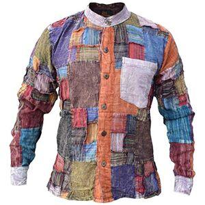 Gheri Men's Grid Patchwork Cotton Long Sleeve Casual Grandad Collarless Shirt Tops Kurtas X-Large