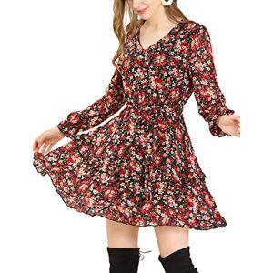 Allegra K Women's Floral Fall Long Sleeve Elastic Waist Layered Ruffle Hem Dress with Belt Black 8