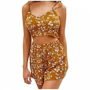 TOPEREUR Women Casual Floral Print Beach Two Piece Set Summer Sling Vest + Co-Ord Beach Shorts Cami Backless Strap Blouse Brown