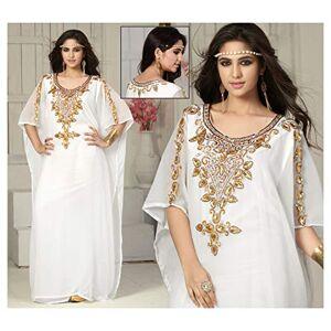 OKM Women's Dubai Style Kaftan Caftan Farasha Maxi Dress DN19 - White