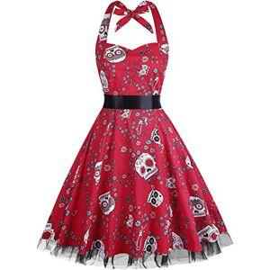 Summer Dresses, OTEN Women Vintage 1950's Floral Halter Neck Rockabilly Swing Dress Skull Red , XX-Large
