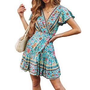 Hertsen Women Wrap Summer Boho Floral Paisley Mini Print Dress Ladies Holiday Beach Dresses Green