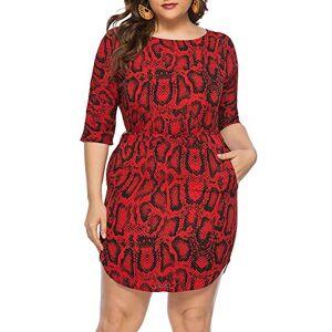 Summer Women Plus Size Dress Snake Skin Print O Neck Half Sleeve Bodycon Oversized Party Mini Dress Red