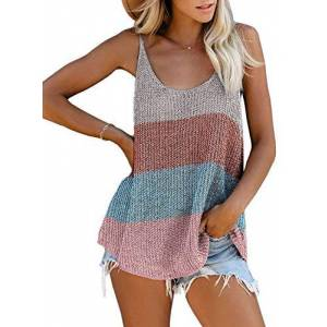 Jolicloth Womens Summer Sleeveless U-Neck Blouse Colour Block Cami Vest UK 22 24 XXL Pink Blue