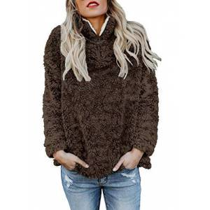 Happy Sailed Womens Fashion Turtle Neck Oversize Fluffy Fleece Sweatshirt Pullover Outwear Jumpers Coffee Size 16