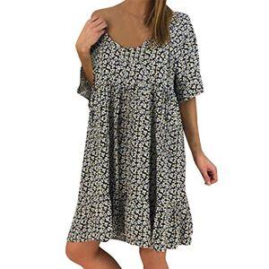 Sanahy Womens Dress Sale, Summer Casual Round Neck Ruffle Short Sleeve Print Chiffon Loose Evening Party Beach Dress(Black,20)