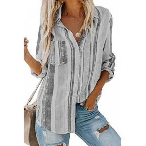 Leisure ELF QUEEN Leisure Stripe Tops Women Long Sleeve Button Down Blouse Femme Gray XX-Large