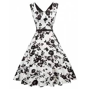 Belle Poque Retro Ladies 40s Flared A-Line Cotton Dress Girls Party Cocktail Dresses Floral-1 X-Large