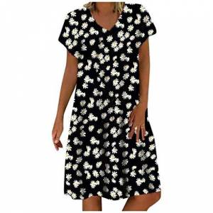 Summer Dresses for Women,Casual Loose Short Sleeves O-Neck Daisy Print Plus Size Dress Black