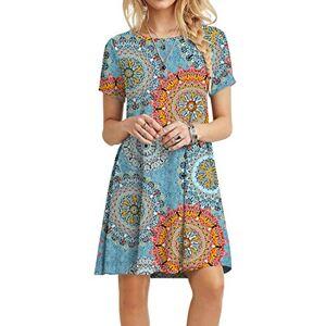 POPYOUNG Women's Short Sleeve T Shirt Dresses Summer Casual Swing Dress XS-Floral Mixed Blue