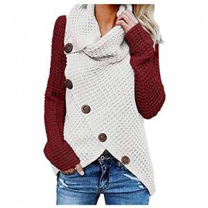jieGorge Women Blouse and Top, Women Autumn and Winter Cat Weater Button Long Sleeve Regular Blouse Sweatshirt, Sweatshirts for Ladies Wine Red XXL
