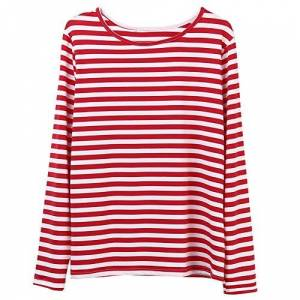 Faithtur Women Red White Striped Long Sleeve Casual Crewneck Tops Blouse - Red - Large