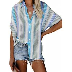 Reukree Womens Summer V Neck Striped Button Up Blouse Short Sleeve Casual Chiffon Shirts Loose Fit Tunic Top Sky Blue Small