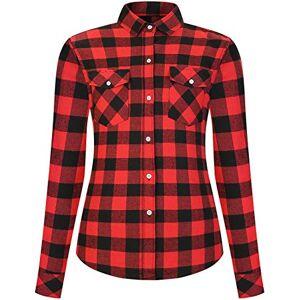 DOKKIA Women's Casual Flannel Shirt Checkered Tops Long Sleeve Buffalo Plaid Work Dress Blouses Jacket (Red Black Buffalo, XX-Large)