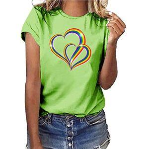 BOIYI Womens Summer Plus Size Shirt Short Sleeve T Shirt Blouse TopsLadies Rainbow Heart Print Short Sleeve T-Shirt(Green,XXXL)