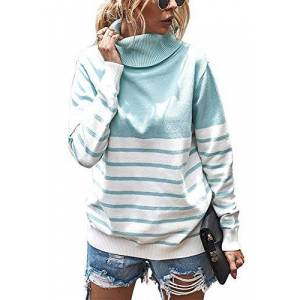 Yidarton Women's Casual Striped Color Block Long Sleeve Tops Fall Winter Pullover Chunky Knitted Turtleneck Sweater Jumper (537-Sky Blue, Large)
