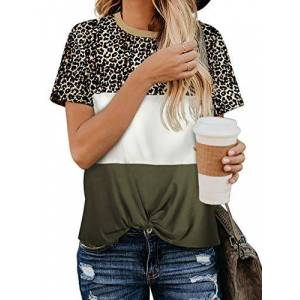 iChunhua Ladies Casual Short Sleeve Blouse Summer Top Twist Knot Colour Block Tshirts Army Green Medium